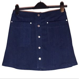 RAG & BONE Siggy Snap Button Down Denim Mini Skirt